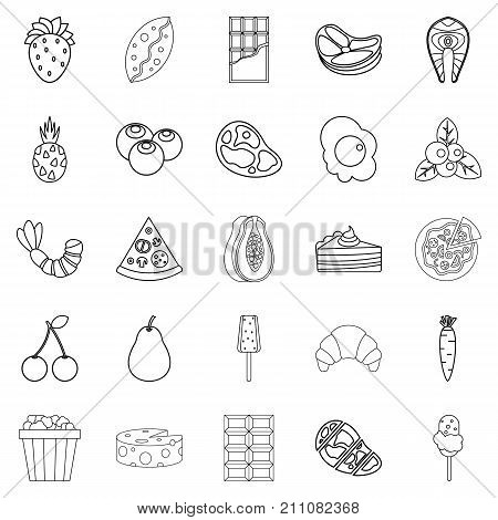 Master of appetizers icons set. Outline set of 25 master of appetizers vector icons for web isolated on white background