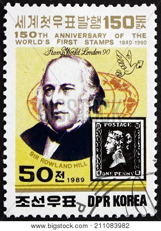 NORTH KOREA - CIRCA 1989: a stamp printed in North Korea shows Sir Rowland Hill and Penny Black circa 1989