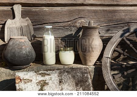 milk and sour cream Vintage interior, old country ware and utensils
