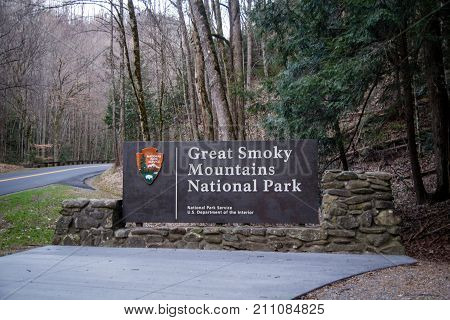 Gatlinburg, Tennessee, USA - February 26. 2014: Entrance sign to the Great Smoky Mountains National Park. The park is the most visited national park in the USA.