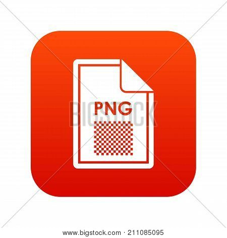 File PNG icon digital red for any design isolated on white vector illustration