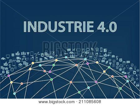Industrie 4.0 Vektor Illustration mit vernetzen Welt und Objekten