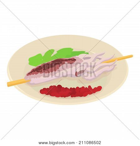 Octopus on plate icon. Isometric illustration of octopus on plate vector icon for web