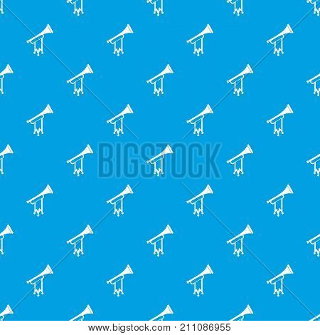 Trumpet with flag pattern repeat seamless in blue color for any design. Vector geometric illustration