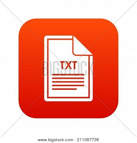 File TXT icon digital red for any design isolated on white vector illustration