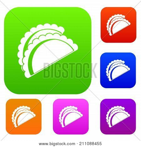 Empanadas de pollo set icon color in flat style isolated on white. Collection sings vector illustration