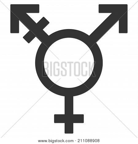 Three Gender Symbol flat vector pictograph. An isolated icon on a white background.
