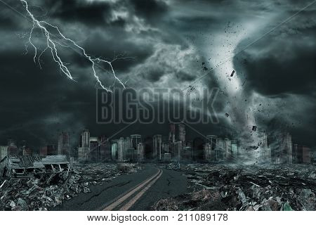3D illustration of tornado or hurricane's detailed destruction along its path toward fictitious city with flying debris and collapsing structures. Concept of natural disasters judgment day apocalypse.