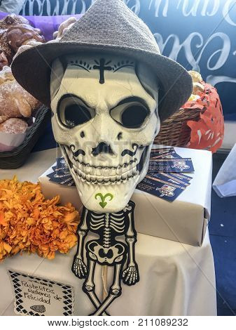 XALAPA, VERACRUZ, MEXICO- NOVEMBER 27, 2017: Skull dressed as traditional catrin for a mexican Day of the Dead festival