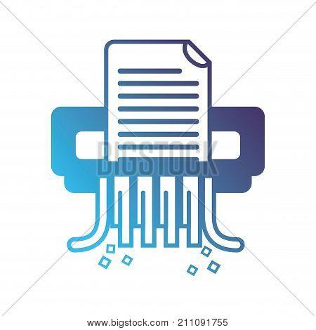 silhouette office paper shredder machine design vector illustration