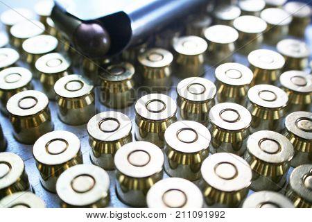 Ammunition 45 Auto Bullets Close Up High Quality