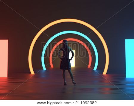 woman standing in the lights of the stage, 3d illustration