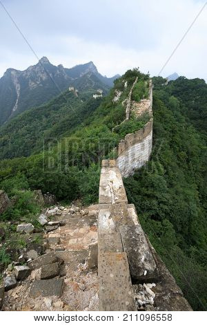 closeup of great wall in china landscape