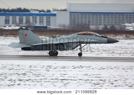 Zhukovsky, Moscow Region, Russia - November 24, 2013: Mikoyan Gurevich MiG-29K of Russian Navy taking off at Zhukovsky airport.