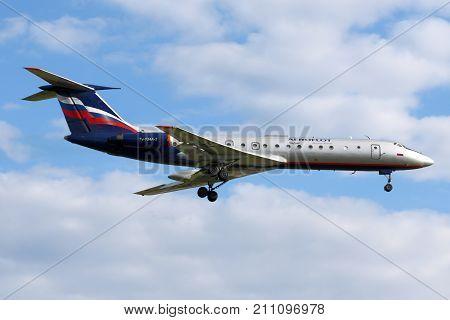 Sheremetyevo, Moscow Region, Russia - June 10, 2008: Aeroflot Tupolev Tu-134 landing at Sheremetyevo international airport.