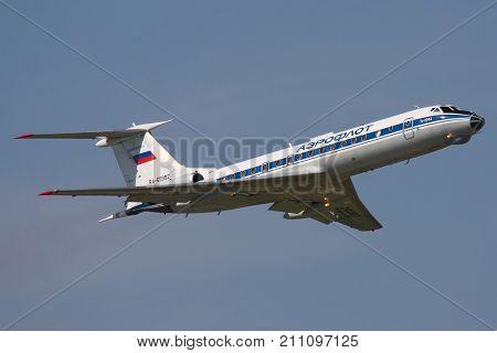 Chkalovsky, Moscow Region, Russia - June 26, 2010: Tupolev Tu-134A-3 of russian air force taking off at Chkalovsky.
