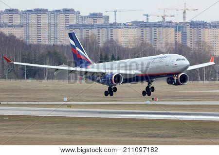 Sheremetyevo, Moscow Region, Russia - April 17, 2015: Aeroflot Airbus A330-200 landing at Sheremetyevo international airport.