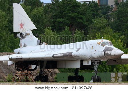 Zhukovsky, Moscow Region, Russia - August 26, 2015: Tupolev Tu-160 prototype standing in Zhukovsky during MAKS-2015 airshow.