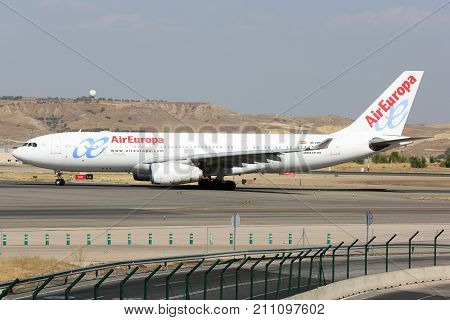 Madrid, Spain - August 12 2015: Airbus A330-200 of Air Europa airlines taxiing at Madrid Barajas Adolfo Suarez airport.