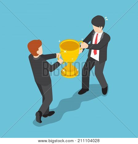 Isometric Two Businessmen Fighting For Winner Trophy.