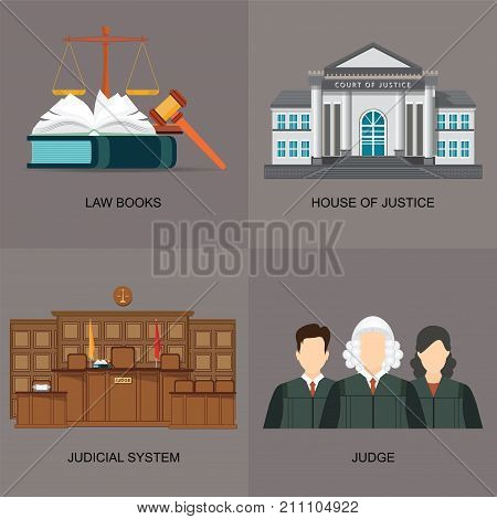 Four square flat law icon set with judicial system law bookshouse of justice and judges Vector illustration.