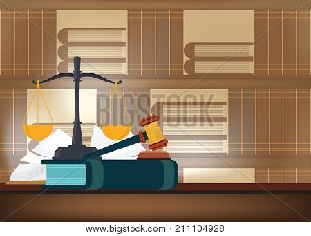 Law books with a judge's gavel on a table and book shelves on background judicial and law system Conceptual Vector illustration.