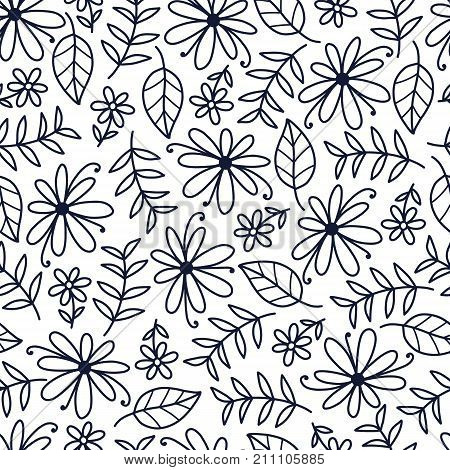 Doodles cute seamless pattern. Monochrom vector background. Illustration with flower, leaf and branch. Design for T-shirt, textile and prints.