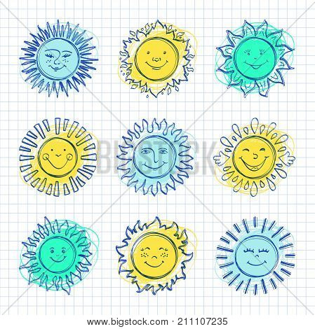 Sketch sun kids drawing, Hand drawn sunshine icons. Funny doodle suns, Drawing happy face icon. Vector illustration styling sketch pencils and pens
