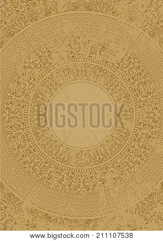 Vector distressed antique mexican pattern on marble slab. Scratched ethnic Aztec ornament. Ancient style design. Simple Inca round line background.