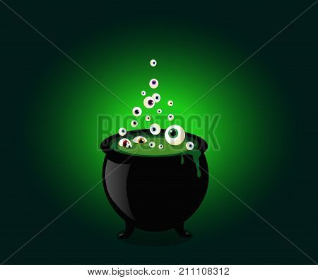 Halloween witch cauldron with bubbling green goo and boiling eye balls. Vector illustration clip art.