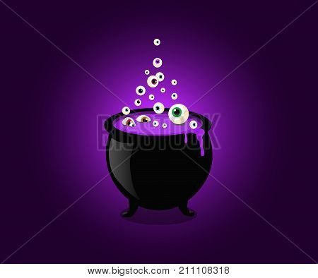 Halloween witch cauldron with bubbling purple goo and boiling eye balls. Vector illustration clip art.