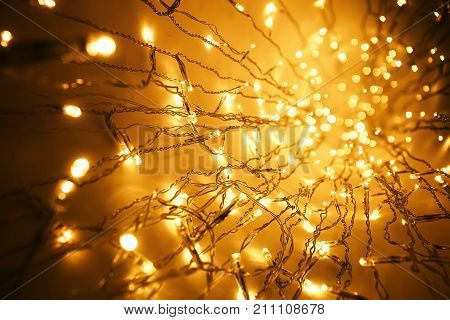 Christmas Lights Garland Blurred Led Bulb Light Background Yellow Lighting Bokeh