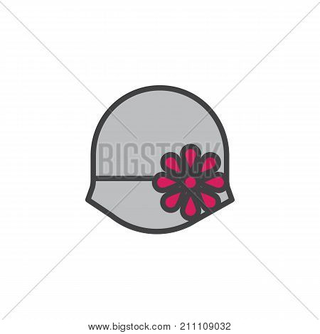 Women's hat bowler filled outline icon, line vector sign, linear colorful pictogram isolated on white. Symbol, logo illustration. Pixel perfect vector graphics