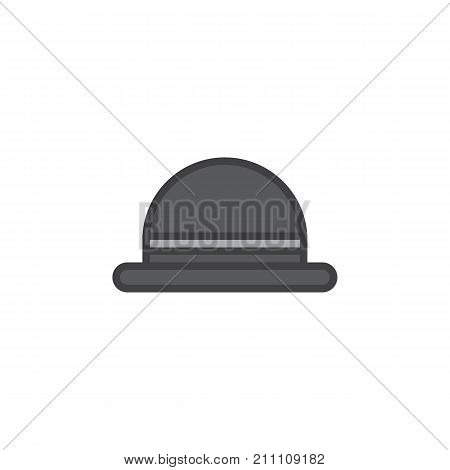 Men's hat bowler filled outline icon, line vector sign, linear colorful pictogram isolated on white. Symbol, logo illustration. Pixel perfect vector graphics