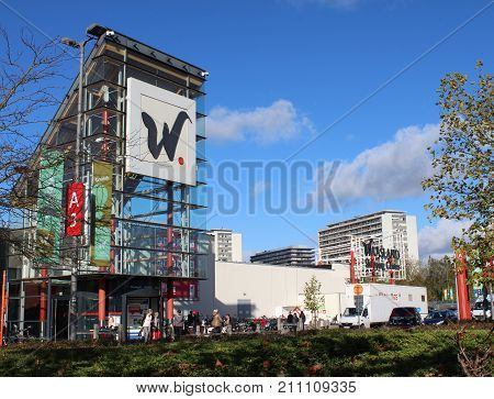 SINT- NIKLAAS, BELGIUM, OCTOBER 27 2017: The large retail `Waasland Shopping Center` with 140 shops it is one of the largest and busiest shopping centers in Flanders.