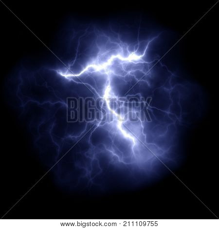 Illustration of a thunder lightning in the night