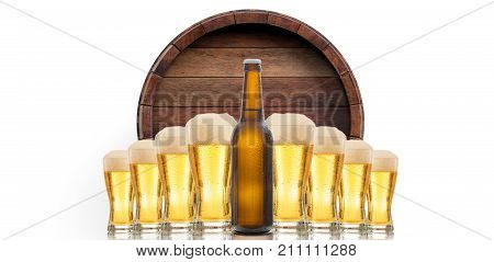Beer Glasses And A Bottle On White Background. 3D Illustration