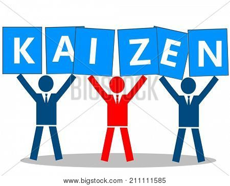 Business team holds placard with the word kaizen, meaning continuous improvement.