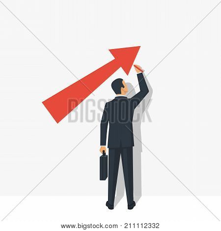Growth graph concept. Businessman in suit draws chart of financial growth. Vector illustration flat design. Isolated on white background. Profit Stock Market.