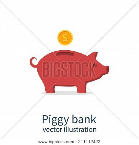 Piggy bank icon isolated on white background. Vector illustration flat design. Gold dollar coin drops into money box. Save budget. Economy finance.