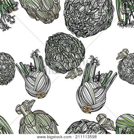 Seamless pattern with fennel and artichoke on white background. Vector illustration. Typography design elements for prints, cards, posters, products packaging, branding.