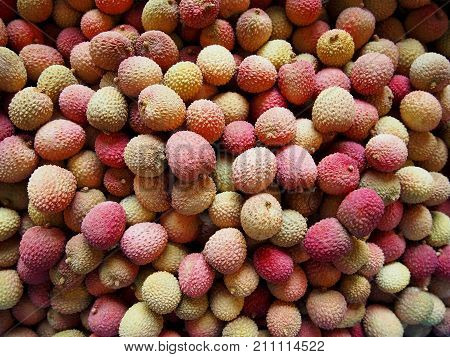 Litchi chinensis fruit close up shot in basket