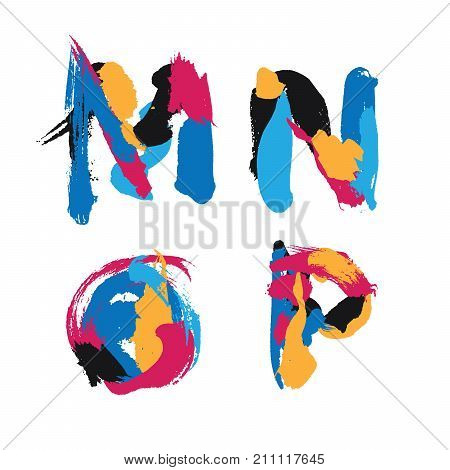 Hand drawn with ink brush strokes alphabet letters M N O and P. Bright watercolor blobs and imprints in vivid typography design.