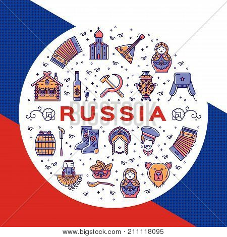 Russian icons circle infographics. Colorful Russian poster - flag, matryoshka doll, vodka and food, samovar, balalaika, bear, USSR, ornament and etc. Vector flat illustration