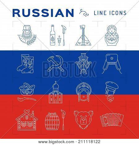 Russian line icons. Russian traditional symbols - flag, matryoshka doll, vodka food, samovar, balalaika, bear, USSR, ornament and etc. Vector flat illustration