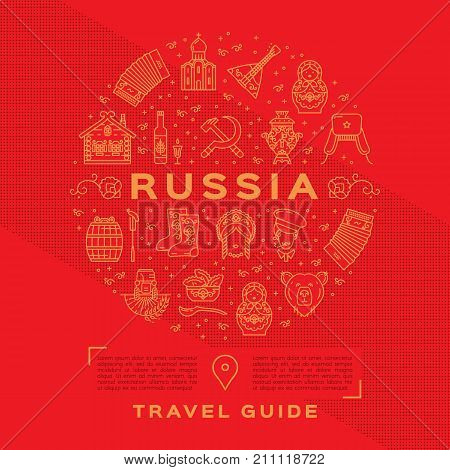Vector Russian Travel Guide. Russian golden icons on a red background. Flat circle infographics - flag, matryoshka doll, vodka and food, samovar, balalaika, bear, USSR, ornament and etc.