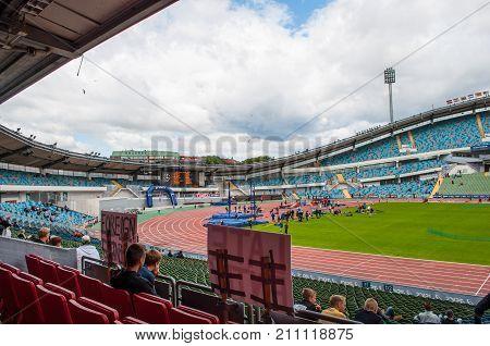 Gothenburg Sweden - June 30. 2013: Gothenburg youth games athletics competition on Nye Ullevi Stadium