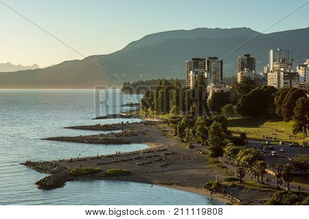 Vancouver, Canada - June 23, 2017: The English Bay And Vancouver Downtown As Seen From The Burrard B