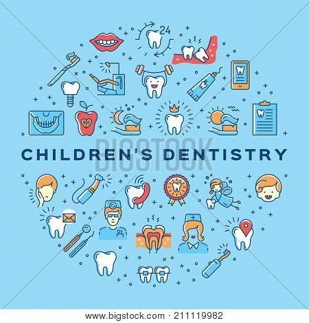 Children's dentistry circle infographics Stomatology Dental care thin line art icons. Symbols teeth, dentist, tooth fairy, smile, child, caries, office. Vector outline elements