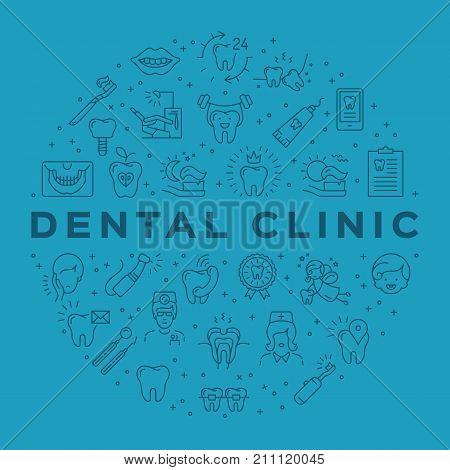 Dental clinic circle infographics Stomatology Dental care outline icons. Symbols teeth, dentist, smile, caries, implant, office. Dentistry vector flat illustration